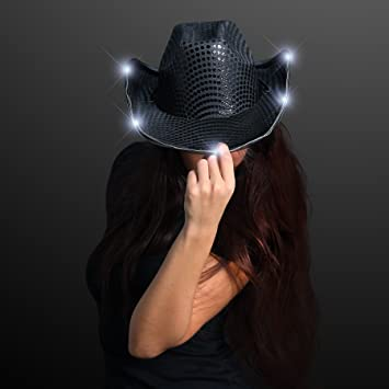 4f8ca5e36f0 Image Unavailable. Image not available for. Color  Black Sequin Light Up  LED Cowboy Hat