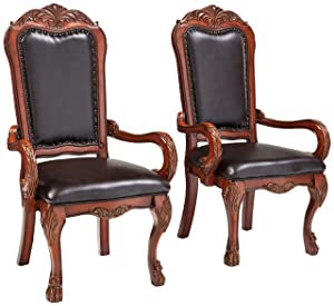 ACME Set of 2 Dresden Arm Chair, Cherry Oak Finish