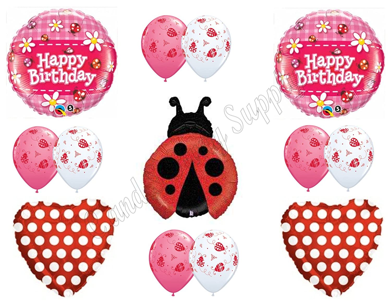 LADYBUG RED POLKA DOTS Happy Birthday Balloons Decoration Supplies 1st 2nd 3rd