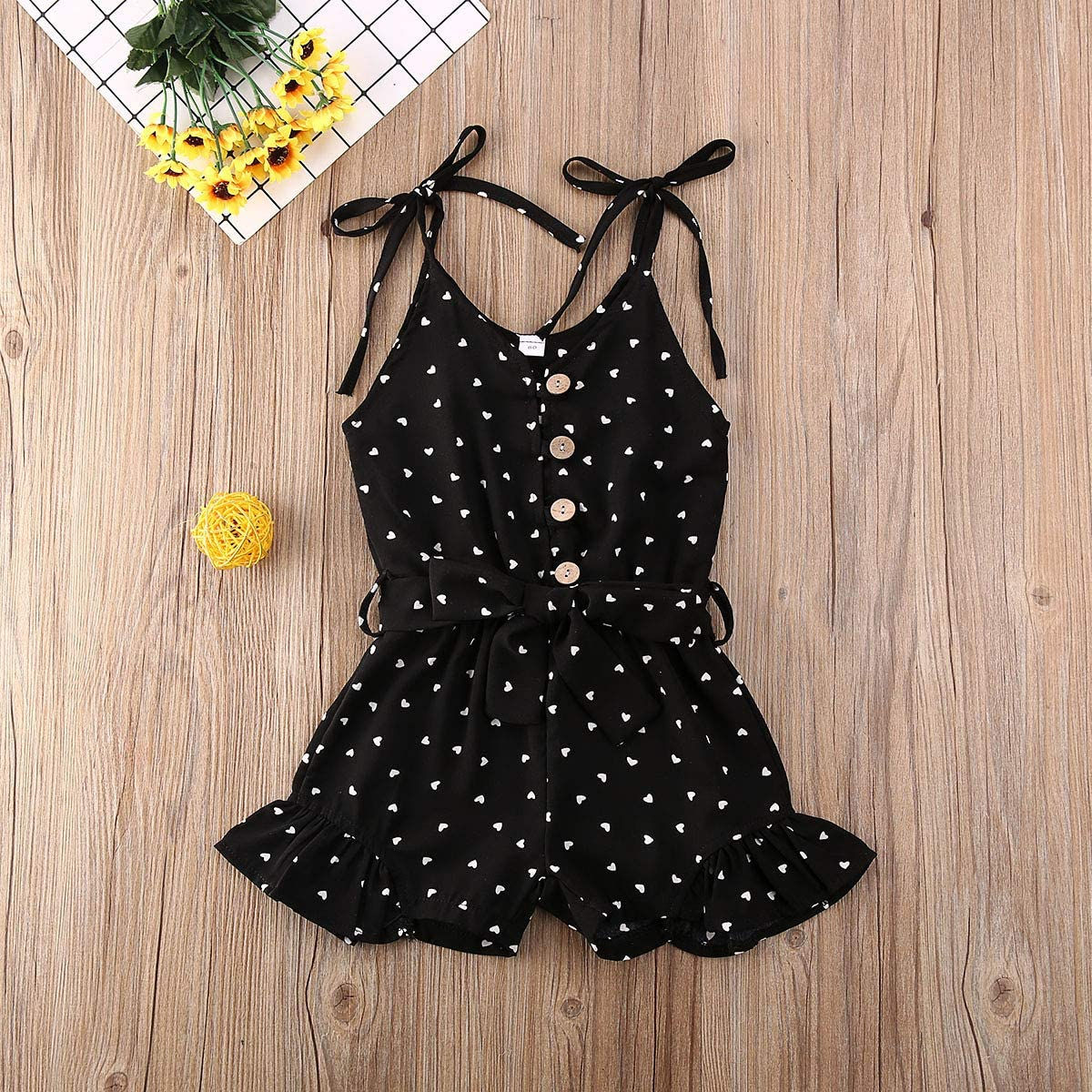Toddler Baby Girl Clothes Self Tie Sleeveless Romper Heart Shape Print Short Jumpsuit Summer Outfit