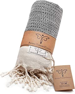 Smyrna Original Turkish Throw Blanket | 100% Cotton, 50 x 60 Inches | Vintage Decorative Boho Throw Blankets for Couch, Sofa, Bed, Farmhouse and Home Decor | Lightweight and Super Soft (Gray)