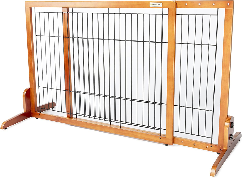 Simply Plus Wooden Pet Gate No Door, Freestanding Pet Dog Gate