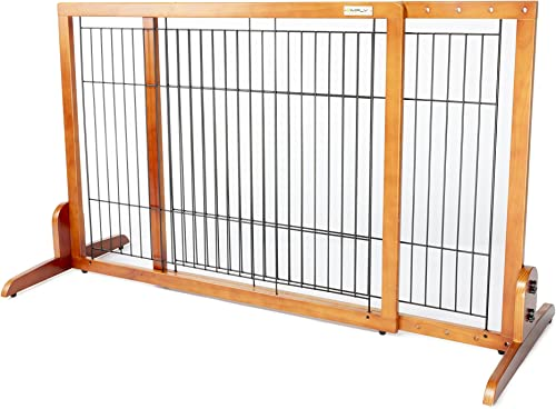 Simply Plus Wooden Pet Gate No Door, Freestanding Pet Dog Gate, for Indoor Home Office Use. Keeps Pets Safe. Easy Set Up, No Tools Required