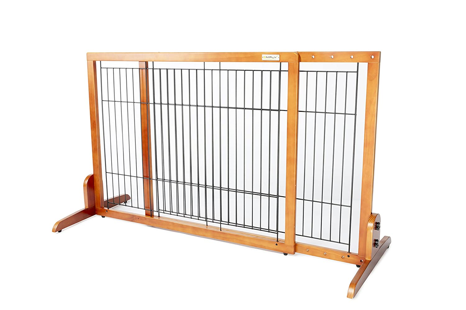 Simply Plus Wooden Pet Gate No Door, Freestanding Pet Dog Gate