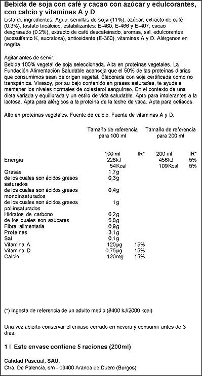 Vivesoy - Bebida de Soja sabor Cappuccino - 1 L: Amazon.es: Alimentación y bebidas