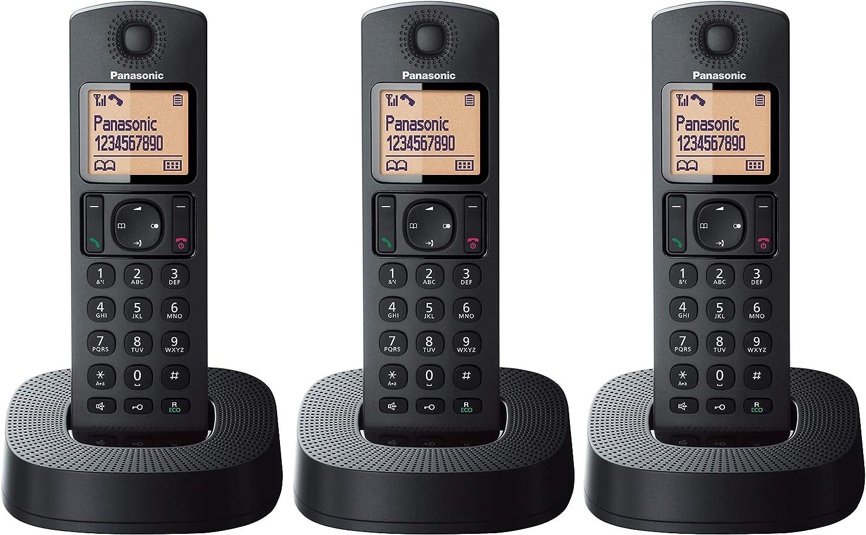 Panasonic KX-TGC313 - Teléfono Fijo Inalámbrico Trio (LCD, Identificador de Llamadas, 16 H Uso Continuo, Localizador, Agenda de 50 números, Bloqueo Llamada, Modo ECO, Reducción Ruido) Negro