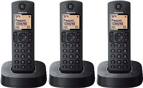 Panasonic KX-TGC313 - Teléfono Fijo Inalámbrico Trio (LCD, Identificador de Llamadas, 16 H Uso Continuo, Localizador, Agenda de 50 números, Bloqueo Llamada, Modo ECO, Reducción Ruido) Negro: Amazon.es: Electrónica