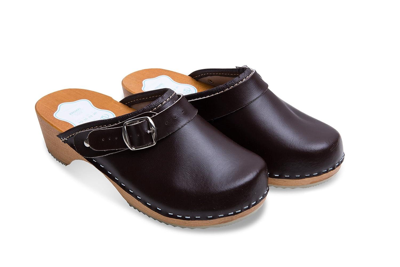 FUTURO FASHION Women's Healthy Natural Genuine Leather Wooden Sole Plain Clogs Unisex Colours Sizes 3-8 UK D4