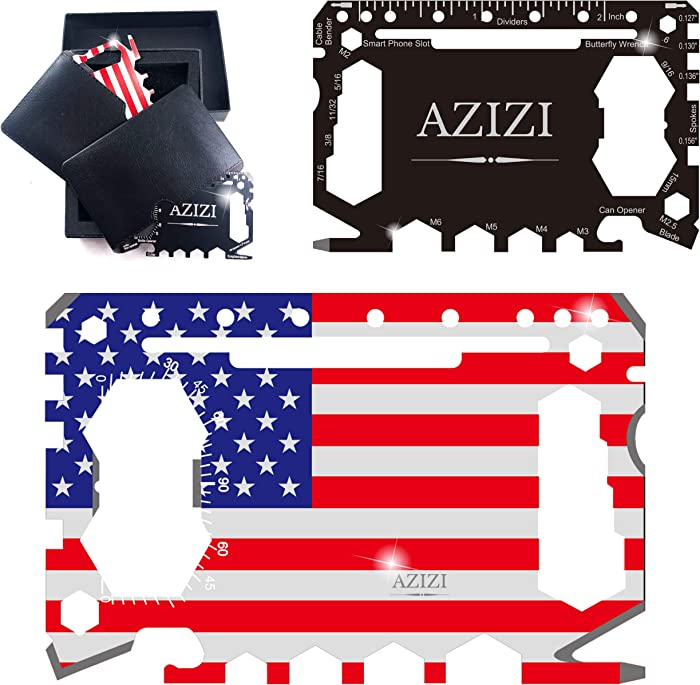 [2020 NEW] AZIZI 46 in 1 Credit Card Tool for Men- Best Holiday& Christmas Gifts Stocking Stuffer- Minimalist Cool Gadgets for Men- Edc Tactical Survival Wallet Multitool (Black + Patriot Edition)