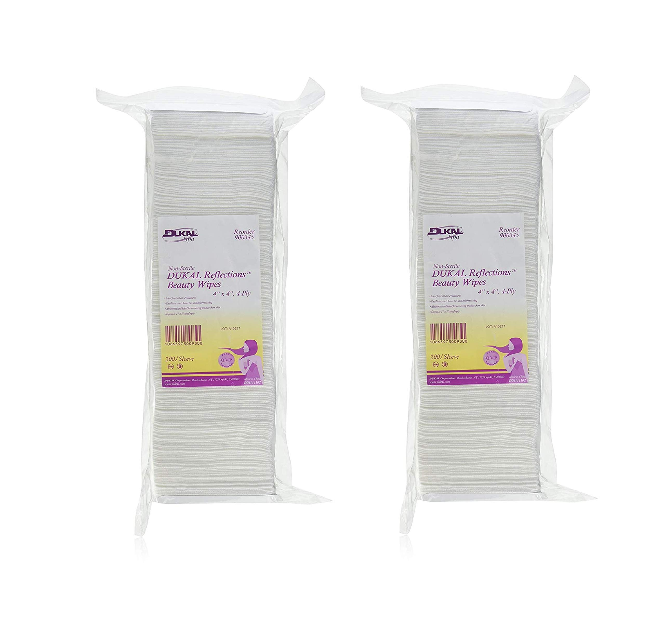 Non-Sterile - DUKAL Reflections Beauty Wipes - Latex Free (4-Ply) (4'' x 4'') - 200 count (2-Pack)