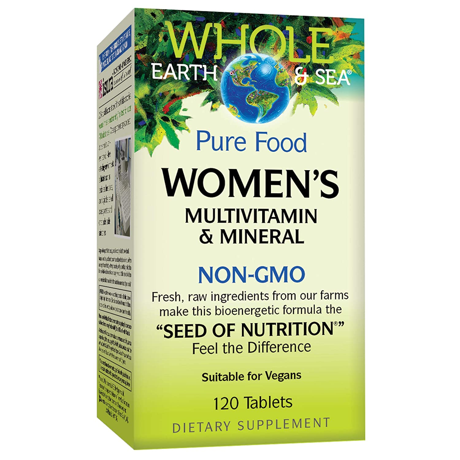 Whole Earth Sea from Natural Factors, Women s Multivitamin Mineral, Whole Food Supplement, Vegan and Gluten Free, 120 Tablets 60 Servings