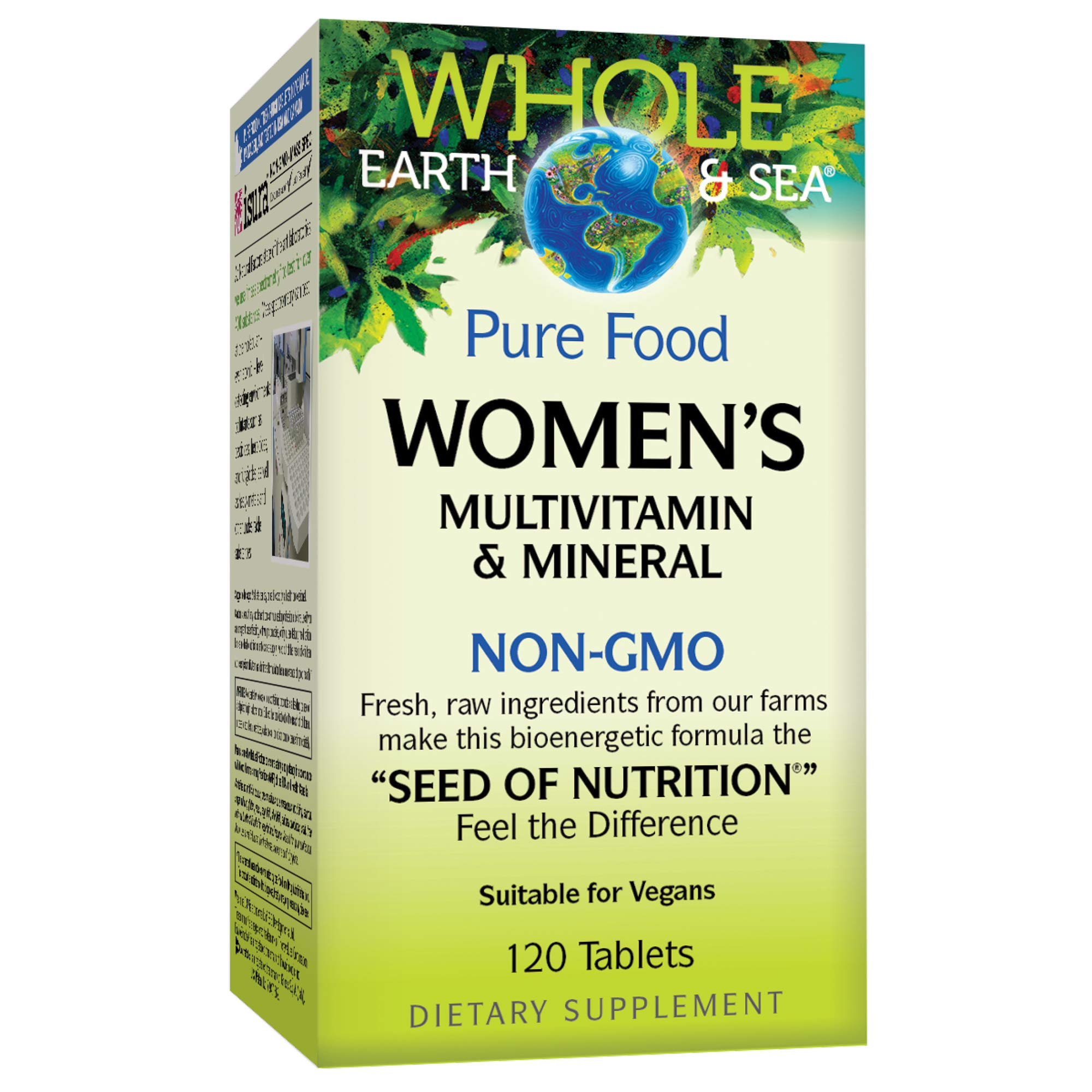 Whole Earth & Sea from Natural Factors, Women's Multivitamin & Mineral, Whole Food Supplement, Vegan and Gluten Free, 120 Tablets (60 Servings) by Natural Factors