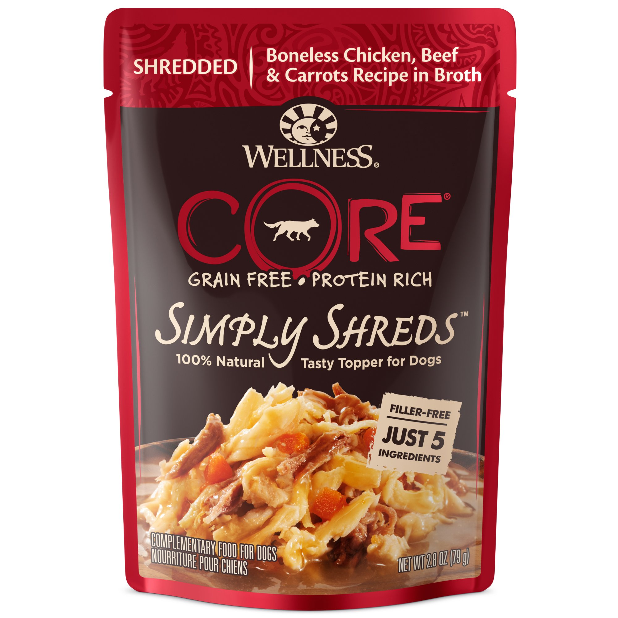 Wellness Core Simply Shreds Natural Grain Free Wet Dog Food Mixer Or Topper, Chicken, Beef & Carrots, 2.8-Ounce Pouch (Pack of 12) by Wellness Natural Pet Food