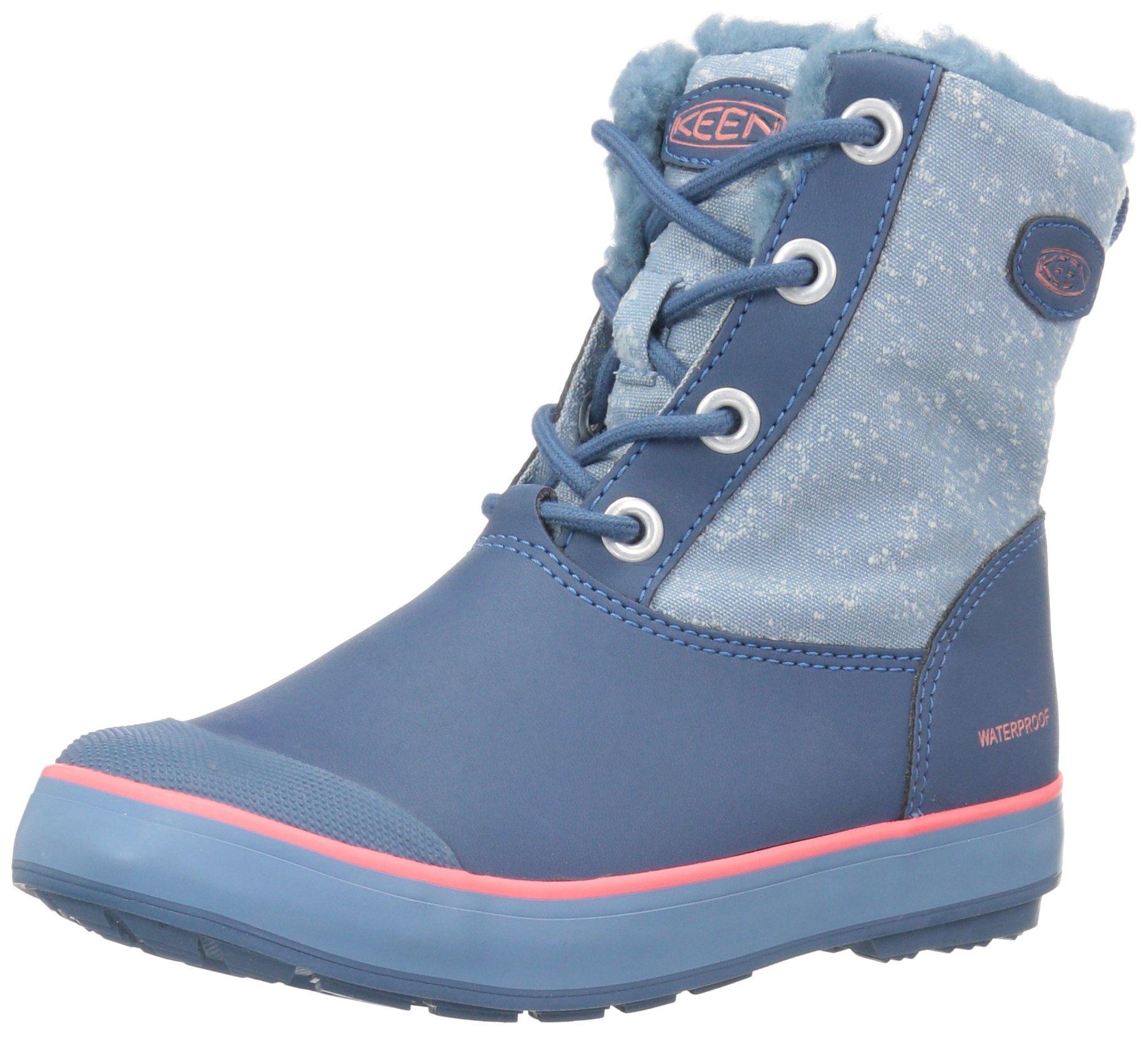 Keen Unisex ELSA WP Fashion Boot, Captains Blue/Sugar Coral, 5 Youth US Big Kid