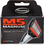 Personna M5 Magnum Razor Blades with Trimmer, 4 Ct Refill Blades (2 Pack)