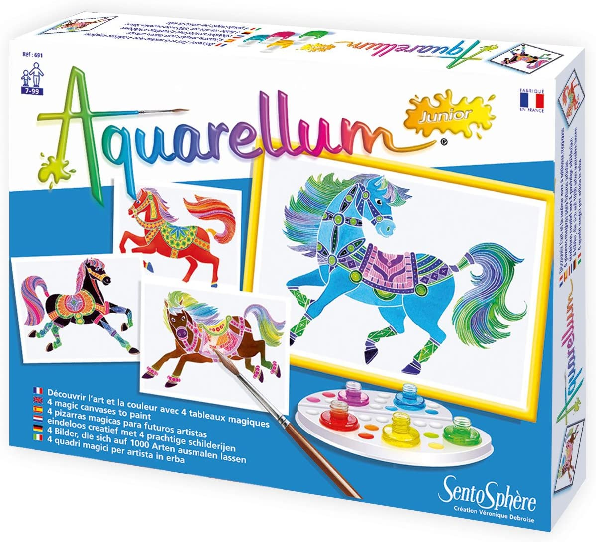 SentoSphere Aquarellum Junior - Horses - Arts and Crafts Watercolor Paint Set