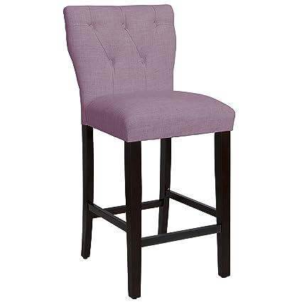 Skyline Furniture Tufted Hourglass Barstool In Linen Lavender