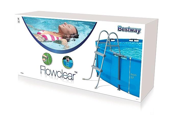 Bestway - Escalera de seguridad para piscinas elevadas, 4 peldaños a cada lado, altura 122 cm: Amazon.es: Jardín