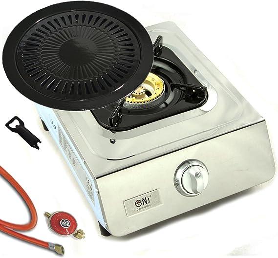 Acero inoxidable de calidad Hornillo de gas 1 focos 5.0 kW Cocina de gas camping hervidor Wok eléctrica + Plancha y manguera de gas con reductor de ...