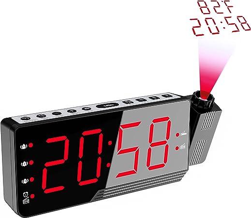 Radio Réveil à Projection, avec Grand Ecran LED avec