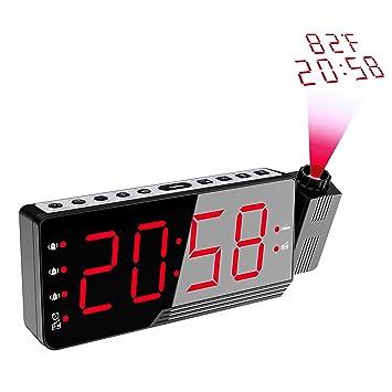Proyección Reloj Despertador con Indicador de Temperatura, Reloj Despertador Radio Despertador USB Puerto de Carga con función de repetición regulador Gran ...