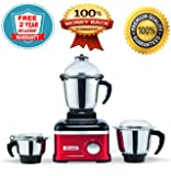Rico Mixer Grinder 1 HP with Heavy Copper Motor 100% Heavy Grinding with 3 Jars with Metal Base (Red) Unbreakable Jar Shock Proof with Anti Skid Legs 2 Years Free Replacement