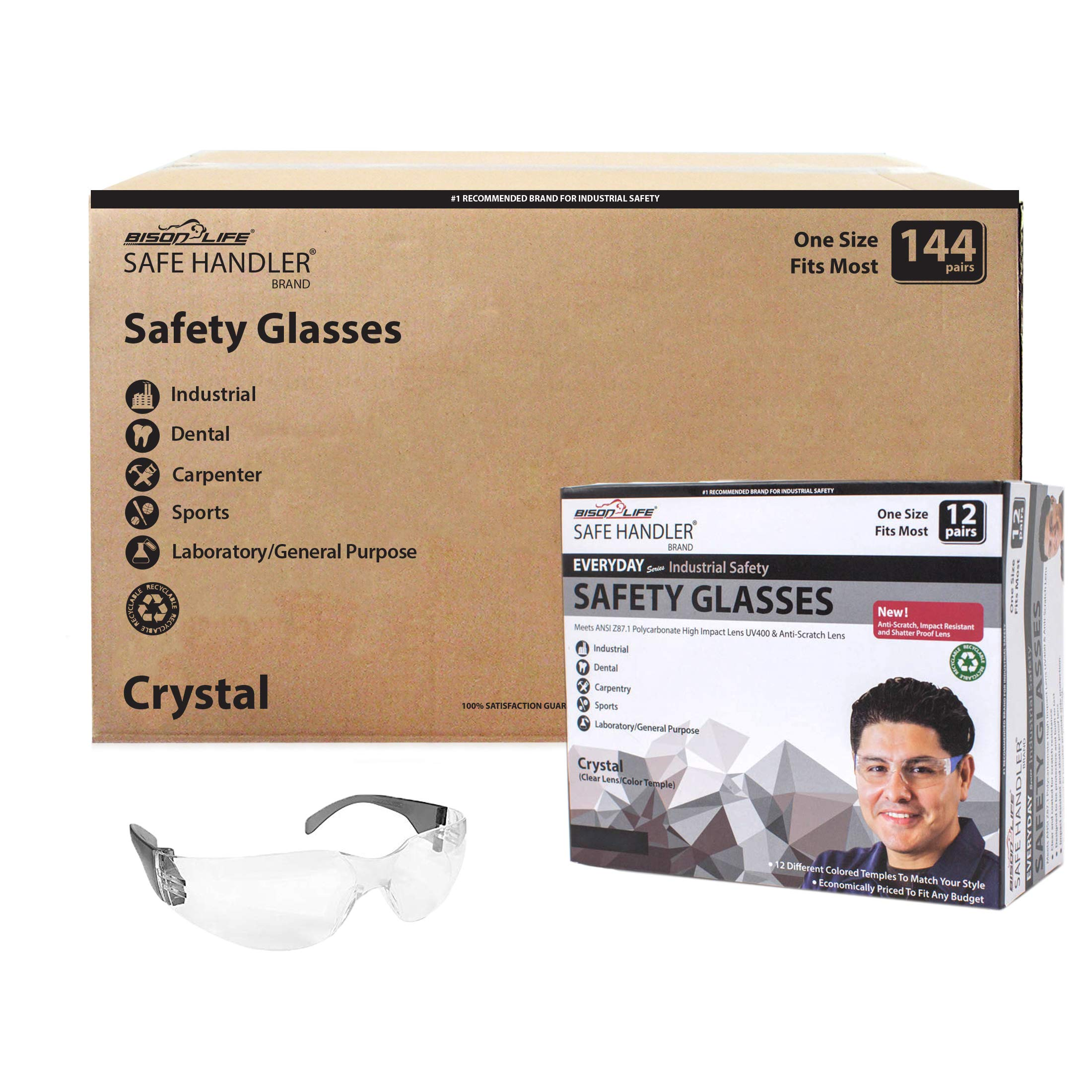 SAFE HANDLER Protective Safety Glasses, Clear Polycarbonate Impact and Ballistic Resistant Lens - Black Temple (Case of 12 Boxes, 144 Pairs Total)