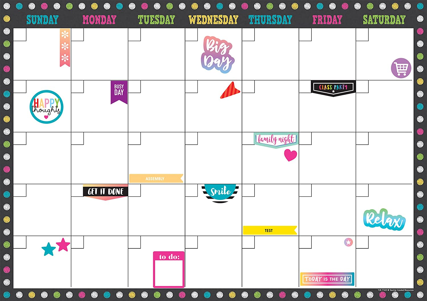 Teacher Created Resources 77349 Chalkboard Brights Clingy Thingies Calendar Set