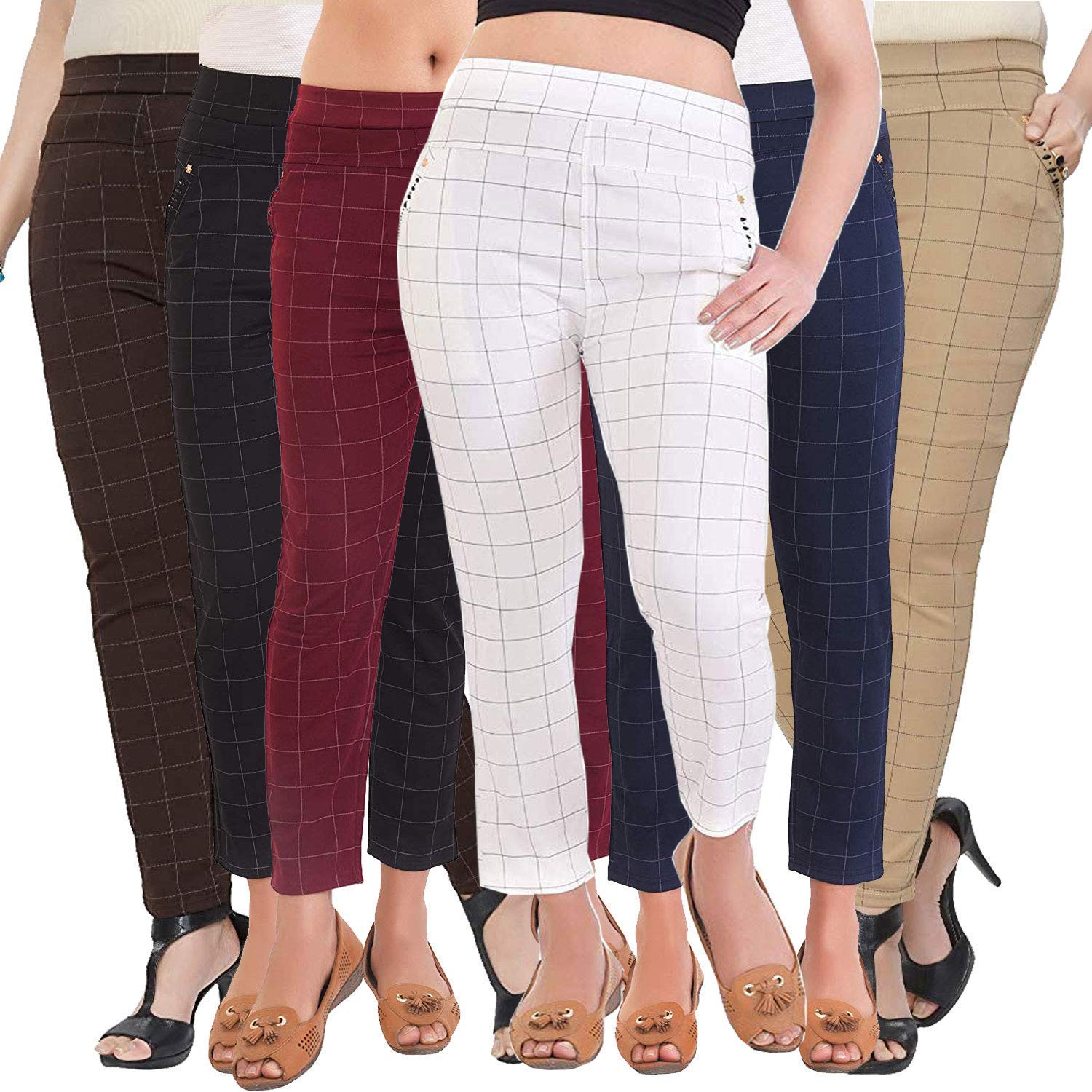 LADIES WOMENS GIRLS TARTAN CHECK LEGGINGS CHECK TROUSERS COLOURS SIZES AVAILABLE