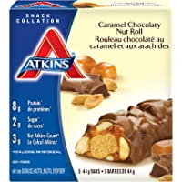 Atkins Snacks Bars, Caramel Chocolate Nut Roll, 8g Protein, 2g Sugar, 5 Count