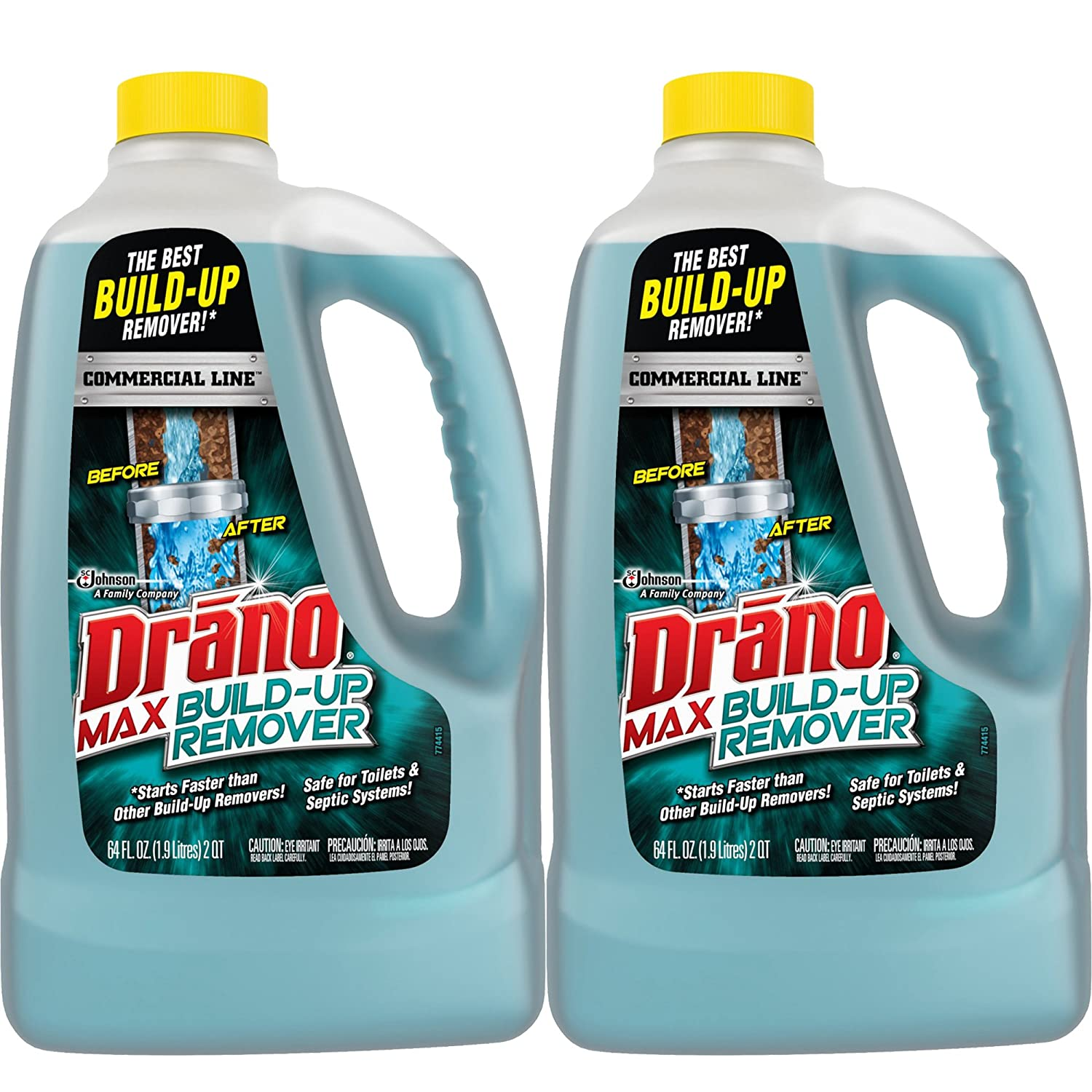 Amazon.com: Drano Commercial Line Max Build-Up Remover 64 Ounces, 2 ...