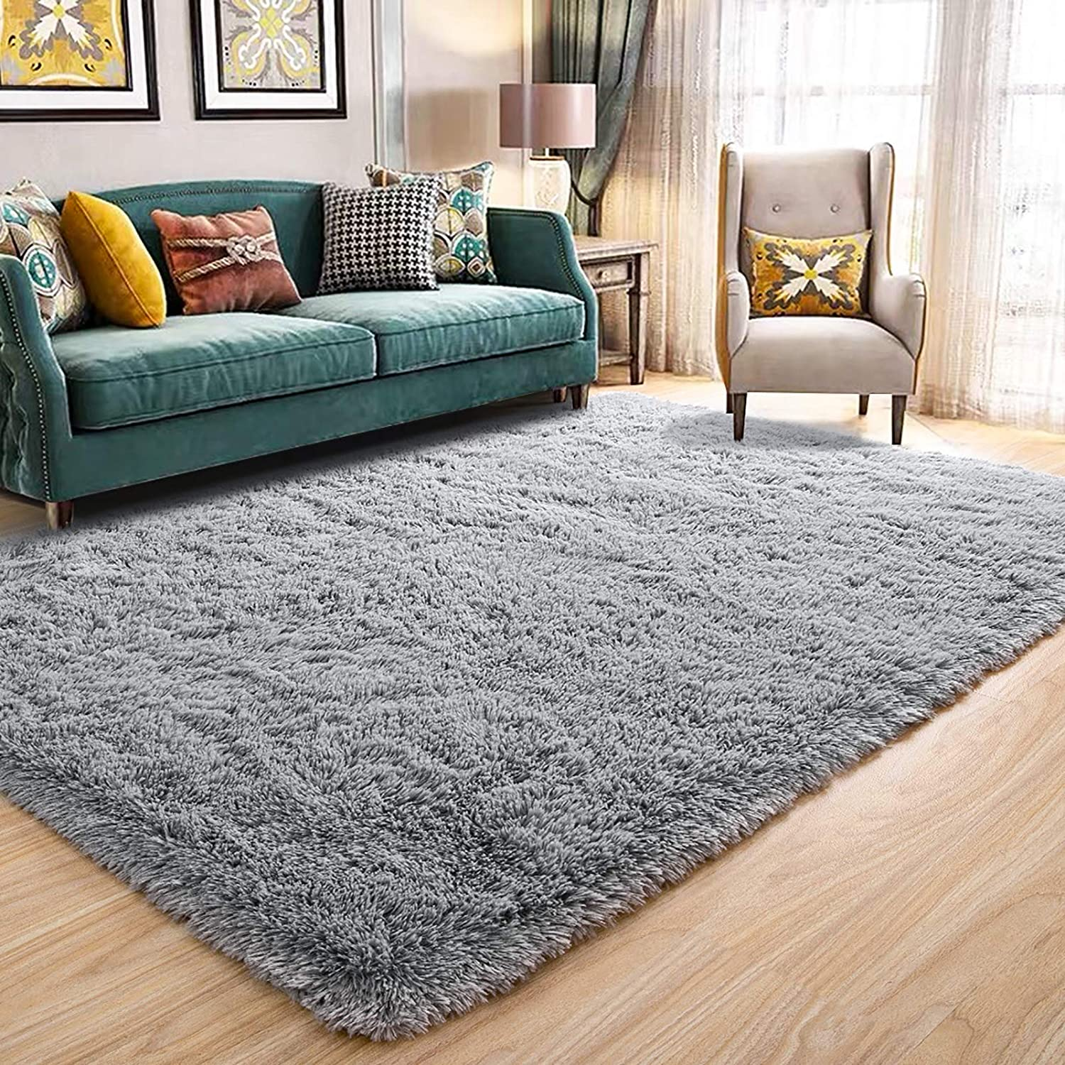 Amazon Com Maxsoft Fuzzy Rugs For Living Room Grey Shag Area Rugs For Bedroom 4 X 6 Feet Fluffy Room Carpets For Girls Kids Plush Furry Rugs For Nursery Bedside Floor Kitchen