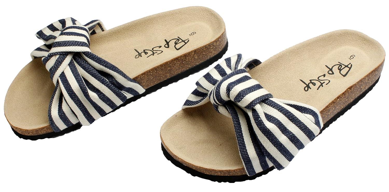 PepStep Slide Sandals for Women//Cork Sole//Canvas Knot Bow//Womens Slides//Sandals for Women