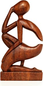 """G6 Collection 12"""" Abstract Sculpture Wooden Handmade Handcrafted Art - The Thinker - Home Decor Decorative Figurine Accent Decoration Hand Carved Thinking Man Statue"""