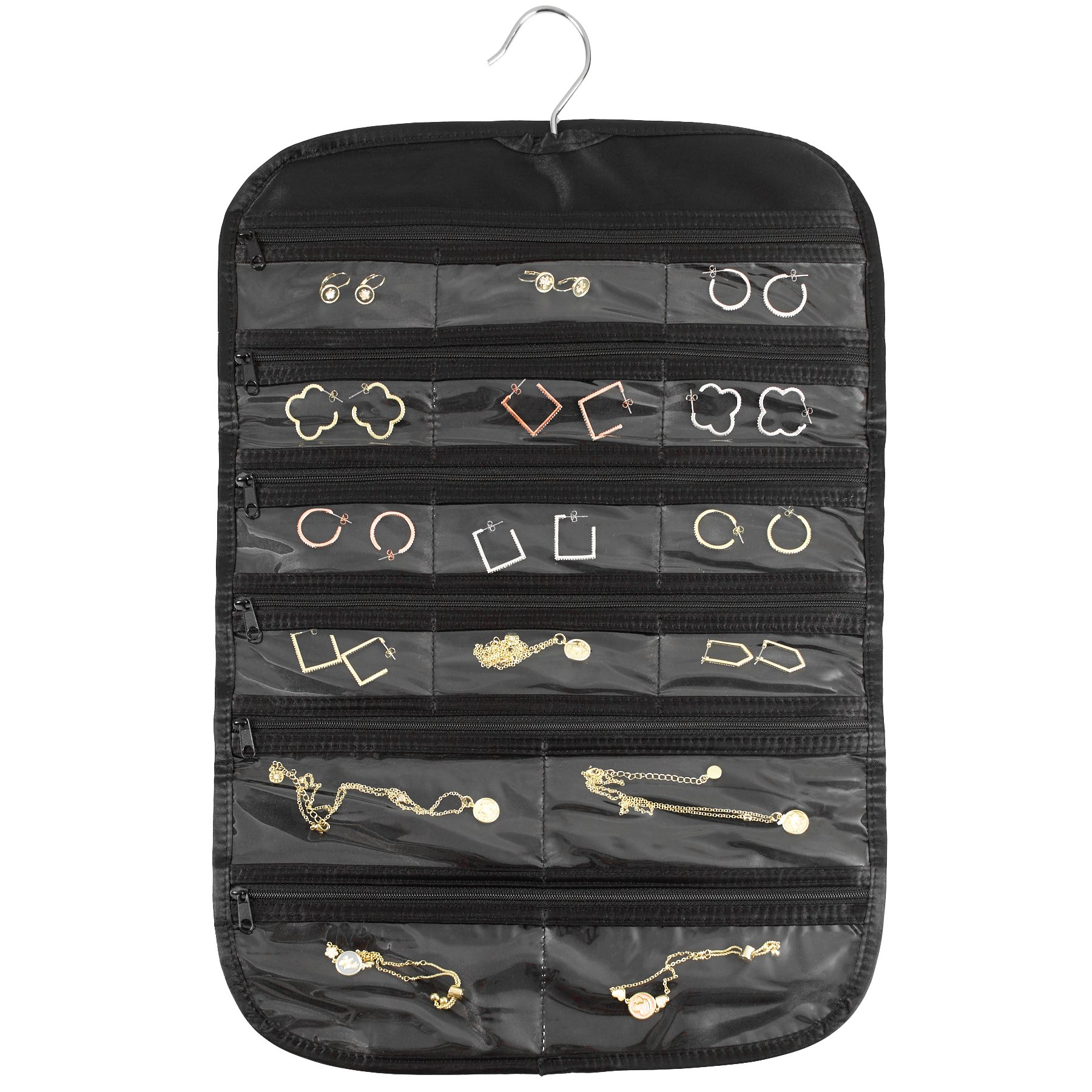 FloridaBrands 31-Pocket Hanging Jewelry and Accessory Organizer with Silver Hook - Black