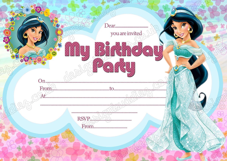 Las niñas Disney Princess Jasmine invitaciones para fiesta ...