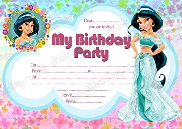 Girls Disney Princess Jasmine Birthday Party InvitationsPrincess X 8 CARDS DS2 Free