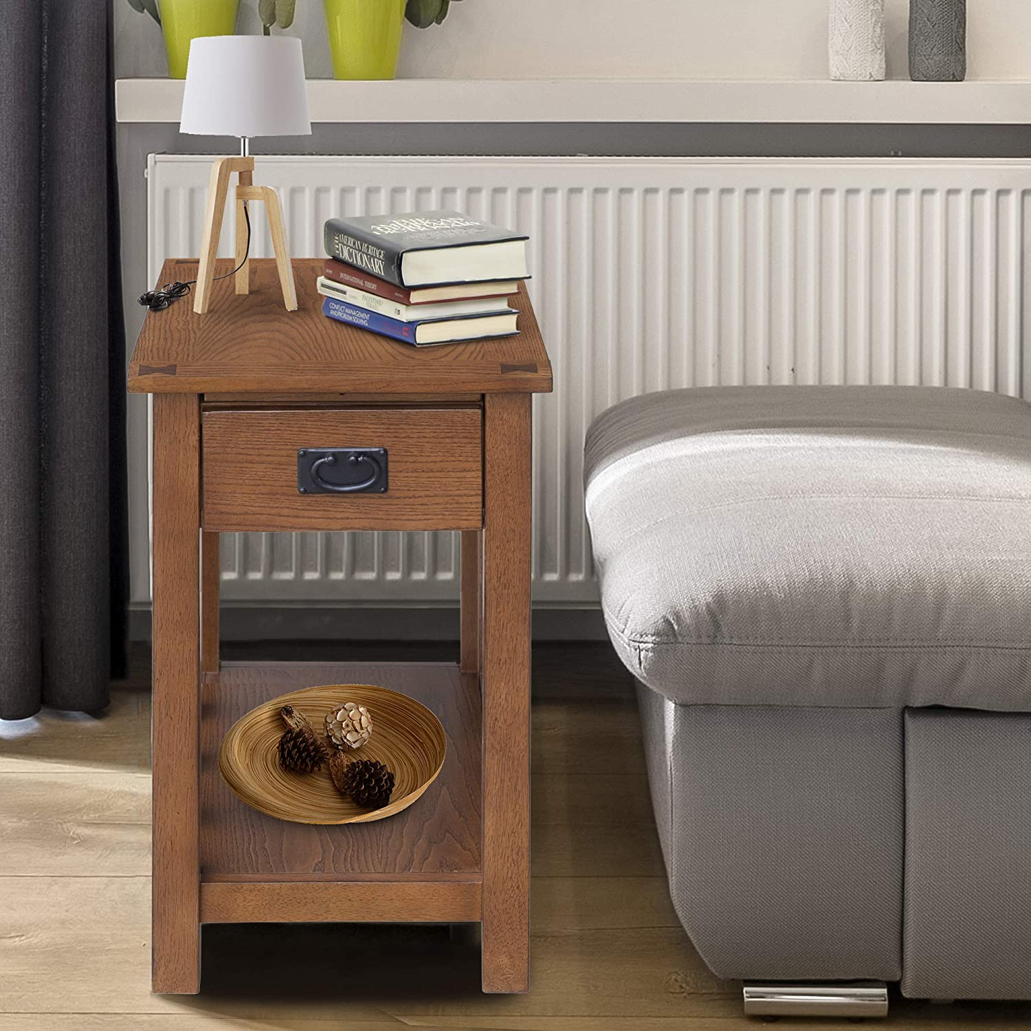 HOMCOM 24 Wooden Side Accent End Table with Drawer, Tray, and Storage Shelf