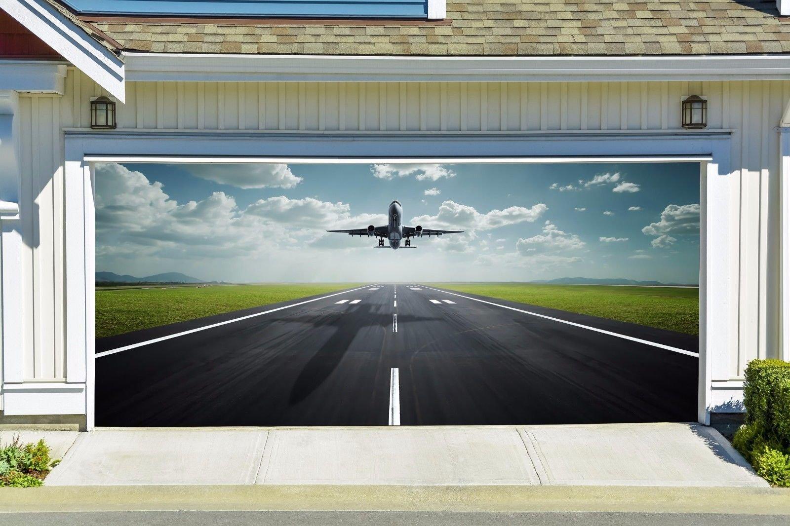 Aircraft Garage Mural Door Cover Outdoor for 2 Car Decor Billboard for House Garage Door Decor Banner 3D Airplane Art Made in the USA Murals size 82x188 Dav83