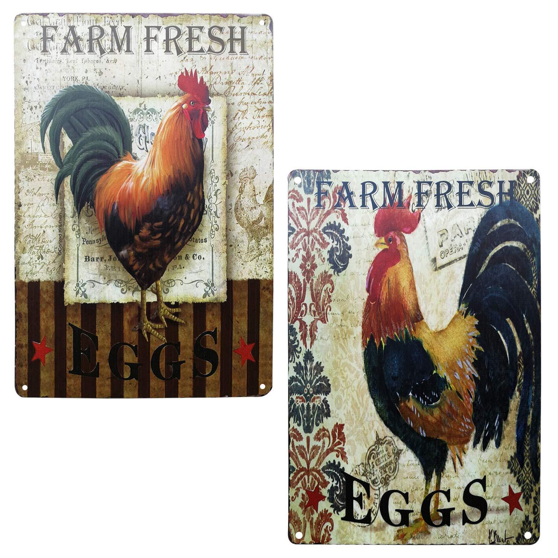 TISOSO Farm Fresh Eggs Retro Vintage Metal Tin Signs Bar Restaurant Kitchen Country Home Decor Farm Decorative Signs 2Pcs-8X12Inch