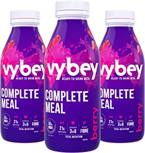 vybey Mixed Berry Flavour | Meal Replacement | Total Nutrition Ready to Drink Meal | 21g Protein | 26 Vitamins & Minerals |12 bottles x 380ml