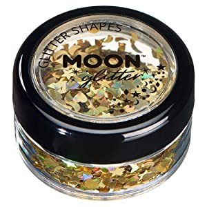 Holographic Glitter Shapes by Moon Glitter ? 100% Cosmetic Glitter for Face, Body, Nails, Hair and Lips - 0.10oz, Gold, 3g