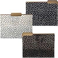 Graphique Gold Dots File Folder Set - File Set Includes 9 Folders with 3 Unique Polka Dot Designs, Embellished w/Gold…