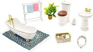 Hiawbon 1:12 Scale Dollhouse Ceramics Furniture Miniature Bathroom Furniture Set Dollhouse Accessories Furniture Model for Girls