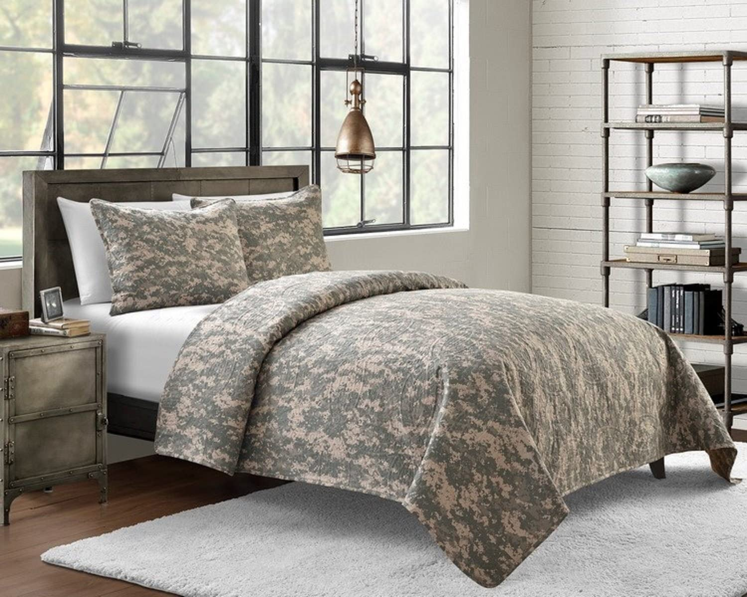 Cozy Bed Microfiber Pin Sonic Camouflage Quilt Set, Twin X-Long, Green