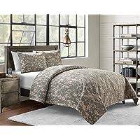Cozy Bed Microfiber Pinsonic Camoflauge Quilt Set Multi Green 2 Piece