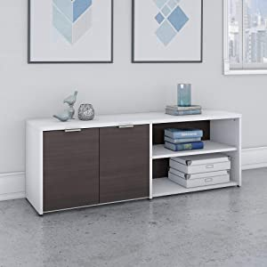 Bush Furniture Jamestown Low Storage Cabinet with Doors and Shelves in White and Storm Gray