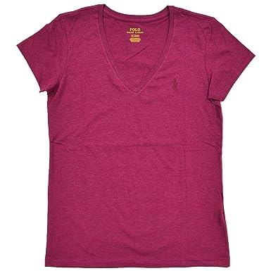 35262fdbe943 Ralph Lauren Polo Damen V-Neck Shirt T-Shirt Bordeaux Rot Größe M ...