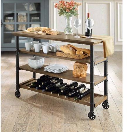 Whalen Santa Fe Kitchen Cart with Wine Rack - Walmart.com