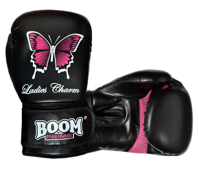 Kostenloser UK Versand Boom Prime Damen Rex Leder Boxhandschuhe Damen Schmetterling Gel Fight Boxsack MMA Sparring Training Muay Thai